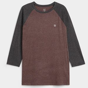 Volcom brown& gray ¾ raglan sleeve heather tee NWT